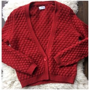 American Vintage M Dark Red Bubble Knit Cardigan